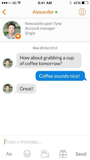 het chat scherm van de Twoo dating app